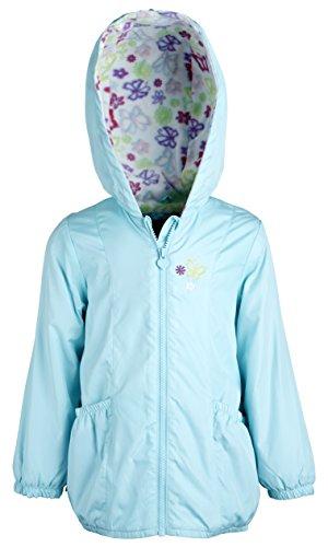 London Fog Little Girls Lightweight Hooded Spring Windbreaker Jacket - Aqua (Size 5/6)