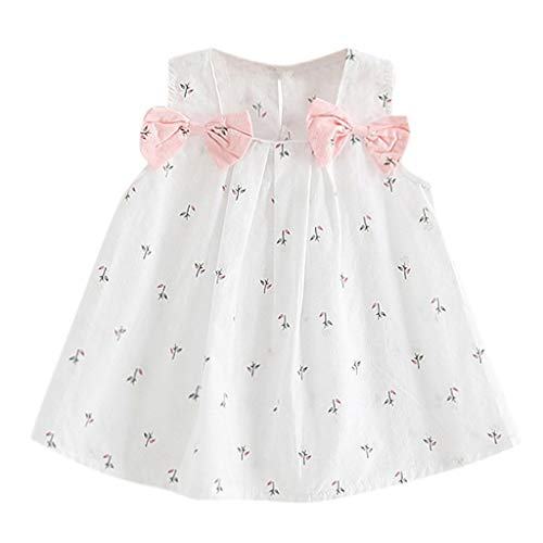 Baby Girl Clothes Summer Dress Cotton Cute Bow Casual Holiday Princess Dresses A-line Sundress (6-12 Months, White) -