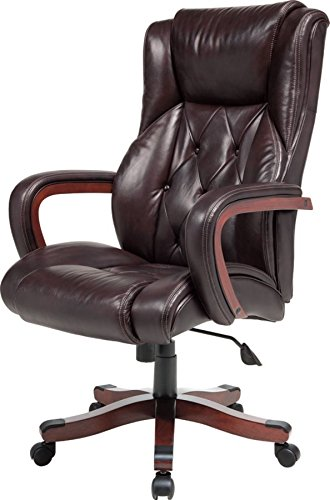 Amazon.com: Realspace(R) Carlton Executive Big Tall Bonded Leather Chair,  Espresso/Versailles Cherry: Kitchen U0026 Dining