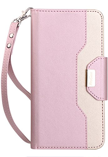 ProCase Galaxy J7 2018 Wallet Case, Galaxy J7 Aero/J7 Star/J7 Top/J7 Crown/J7 Aura/J7 Refine/J7 Eon Folding Flip Kickstand Case Protective Book Cover with Card Holders Mirror Wristlet -Pink