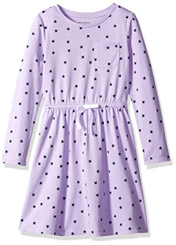 Amazon Essentials Little Girls' Long-Sleeve Elastic Waist T-Shirt Dress, lilac breeze/navy depths mixed star with white bow, M