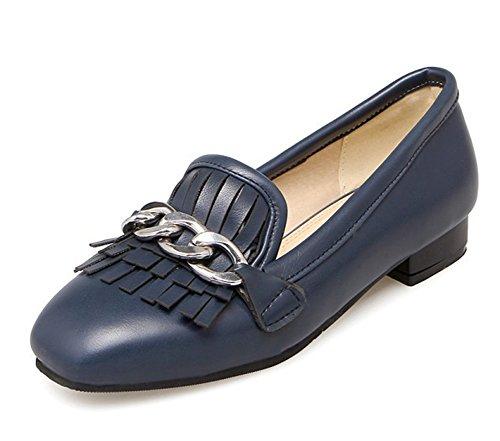 Easemax Femmes Trendy Chaînes Frange Carré Orteil Bas Haut Bas Chunky Talon Glisser Sur Les Pompes Chaussures Bleu