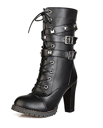 Talons Hauts Bottines Martin Fashion Hiver Chaussures lgant Eu Street Confortable Minetom Cuir Automne Noir Bottes 41 En w4nPqTRBx