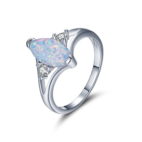 DwearBeauty Rose/White Gold Plated Marquise-Cut Opal Ring Size 5-10