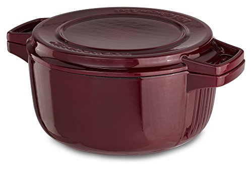KitchenAid KCPI60CRRR Professional Cast Iron 6-Quart Casserole Cookware - Royal Red