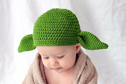 Milk protein cotton yarn handmade baby Yoda hat - fits 1 to 3 year old