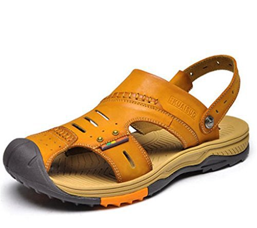 W&XY Sandalias cuero al aire libre de los hombres zapatos de playa de los deportes Baotou zapatillas antideslizantes antideslizantes , brown
