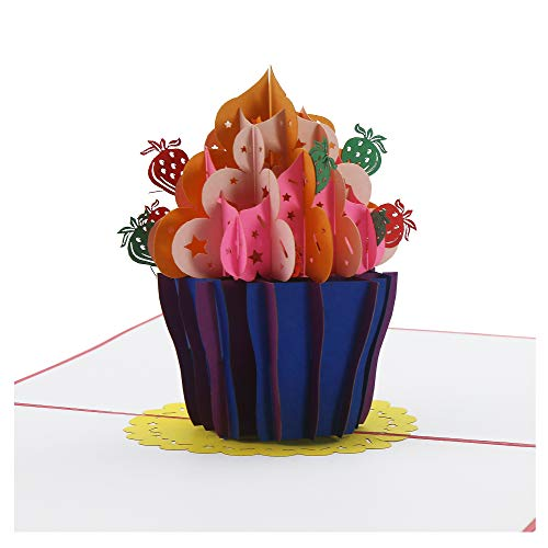 Birthday Cupcake - Anniversary Card Greeting Card for all occasions Birthday asortment (light red, 5 x 7) ()