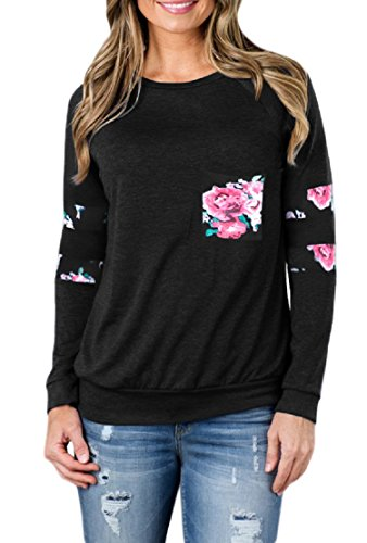 SEKKVY Womens Floral Printed Sweatshirt Long Sleeve Crewneck Pullover Hoodie Loose Casual Blouse and Tops with Pockets
