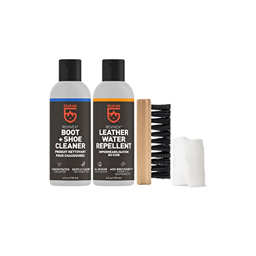 Gear Aid Revivex Leather Boot Care Kit with Water Repellent, Cleaner, Brush and Cloth - Mcnett Revivex Water Repellent