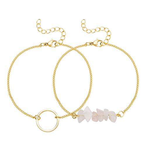 Exweup Circle Bracelet Stone Bar Bracelet 18K Minimalist Jewelry Gifts for Women Couple