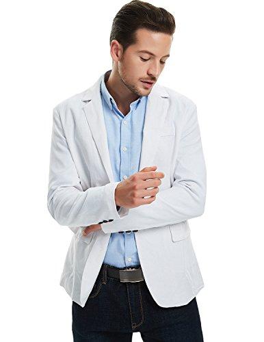 Pishon Men's Linen Blazer Lightweight Casual Solid One Button Slim Fit Sport Coat, White, Tag Size XXXL=US Size L by Pishon (Image #4)