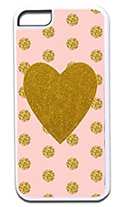 Gold Glitter PRINT Heart on Pink and Gold Glitter PRINT Polka Dots- Case for the APPLE iphone 4s ONLY!!!-NOT COMPATIBLE WITH THE REGULAR iphone 4s!!!-Hard White Plastic Outer Case