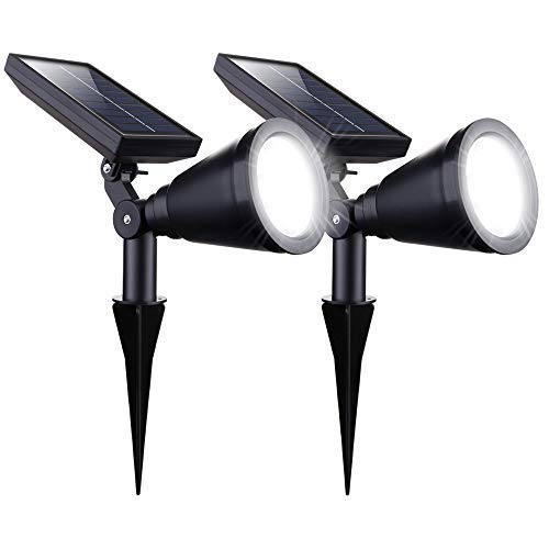 Brightown 2 Pack Solar Spot Lights Outdoor 2-in-1 Integrated Solar Powered Landscape Lighting Spotlight Waterproof, Adjustable, Auto On/Off for Garden Yard Driveway Path Lawn Patio Bright White (Best Solar Spot Light)