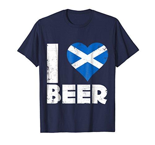 Beer Scottish (Mens I Heart Scottish Beer Love Pride Scotland T-Shirt Medium Navy)