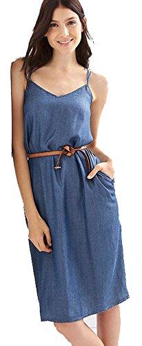 Gap Womens Dark Blue Chambray Cami Sun Dress Large 12 14 (Gap Blue Dress)