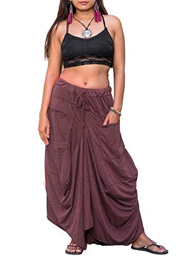 Maxi Skirt Women Bohemian Hippie Pockets Gypsy Elastic Waist Cotton (Red)