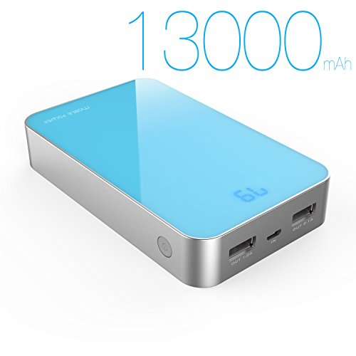 MAXOAK 13000mAh Power Pack High Capacity Battery Pack Power Bank External Battery Charger Dual USB 2.1A/1A & Power Display For Cell Phone iPhone 6 5S iPad Samsung S5 S4 Note 4 Moto LG G3 HTC-S16-Blue-CA