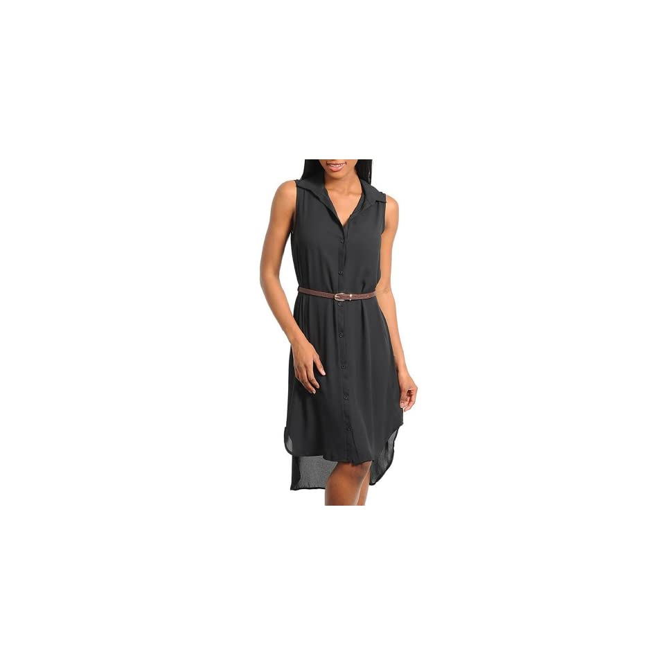 Stanzino Womens Sleeveless Button Down Belted Shirt Dress BLACK S