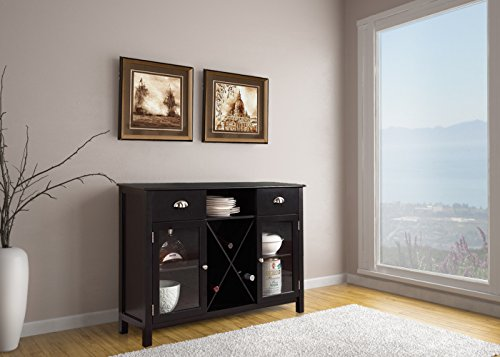 Kings Brand Furniture Black Wood Wine Rack Breakfront Buffet Storage Server Console Table