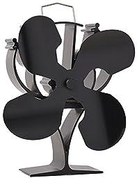 New designed 4 Blades Heat Powered Stove Fan for Wood / Log Burner/Fireplace - Eco Friendly(Black)