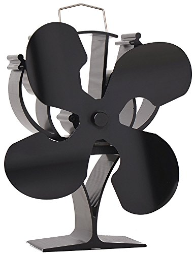 VODA New Designed 4 Blades Heat Powered Stove Fan for Wood/Log Burner/Fireplace - Eco Friendly(Black) (Fan Heater For Wood)