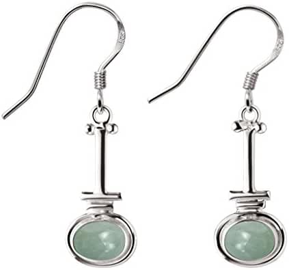 3.10ctw Genuine Gemstone & 925 Silver Plated Dangle Earrings Made By Sterling Silver Jewelry