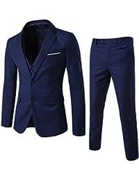 Mens 3-Piece Suit Slim Fit dos botón único breasted muesca solapa vestido Chaquetas Chaleco y pantalones para...