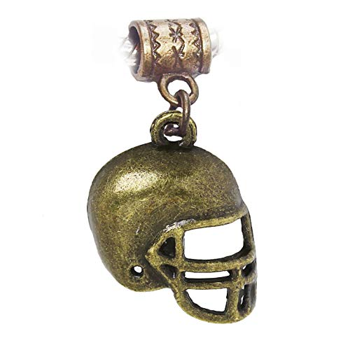 Jewelry Making Supplies Football Helmet NFL Sports Brown Bronze Dangle Charm for European Slide Bracelet Make Personalized Necklaces Bracelets and Other Jewelry