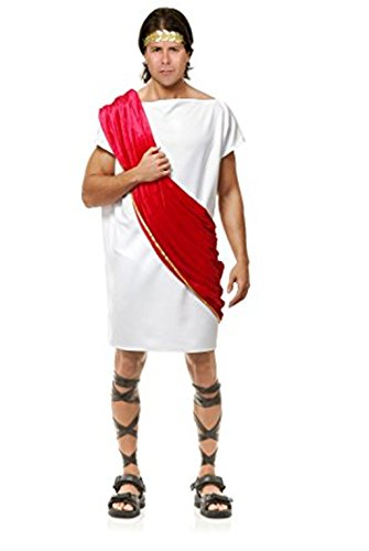 Charades Men's Toga Man Costume, As Shown/Red, -