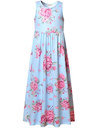 Maxi Dresses for Girls Floral Summer Sleeveless Light Blue Casual Rose Printed -