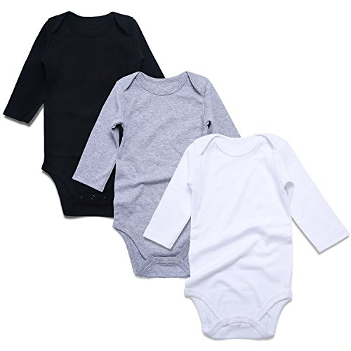 - ROMPERINBOX Place Unisex Baby Bodysuits 100% Cotton 0-24 Months (0-3 Months, Black White Grey Long Sleeve)