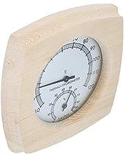 Dekorativ bastu termo-hygrometer, bastu hygrotermograph termometer temperatur display 13.5x13x2.5cm med trä för badrum Bastu rums tillbehör