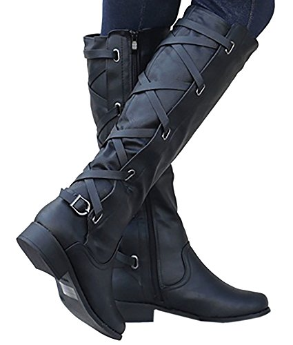 Womens Riding Boot Winter Knee High Lace Up Faux Leather Criss Cross Strap Buckle Shoes (High Boot Buckle Thigh)