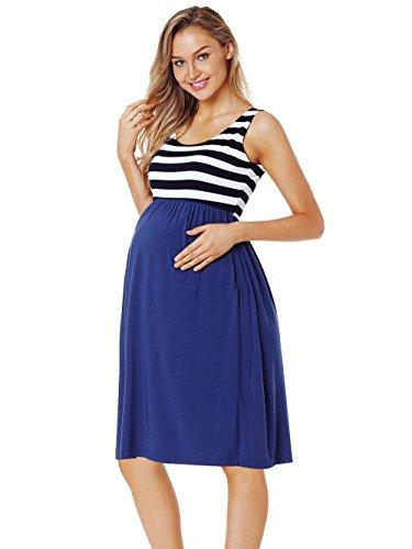 CareGabi Maternity Tank Dress Womens Sleeveless Stripe Knee Length Tank Dress for Baby Shower