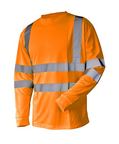 Hi Vis T Shirt ANSI Class 3 Reflective Safety Lime Orange Short Long Sleeve HIGH Visibility (L, Orange_L) by L&M