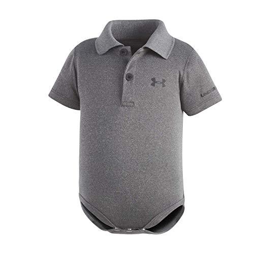 Under Armour Baby-Boys' Polo Bodysuit,Carbon Heather (27690007-04) / White,3-6 Months