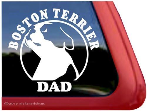 Boston Dad ~ Boston Terrier Vinyl Window Auto Decal Sticker