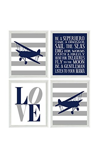 Airplane Nursery Art, Boy Room Wall Art, Plane Prints, Boy Rules Art, LOVE Print, Flying Art, Airplane Prints, Biplane Wall Art, Toddler Room Decor, Nursery Decor