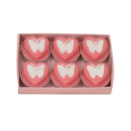 Fantastic Craft Boxed Pink Butterfly Heart 6-Pack Tea Light Candles - Butterfly Tealight Candle