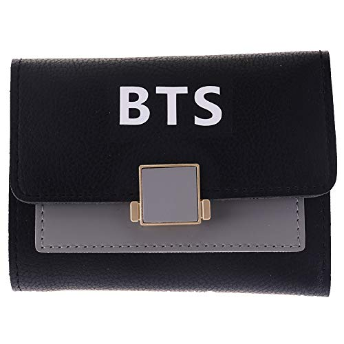 (Hosston Kpop BTS Bangtan Boys Long Wallet PU Leather Wallet Coin Purse Card Holder Wallet with Card Holder Card Slots Best Gift for A.R.M.Y(Style 05-Black))