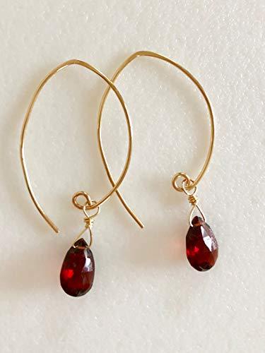 Genuine Mozambique Garnet Earrings - Red Garnet Earrings, Luxe AAA Garnet Gemstone, Mozambique Garnet Briolette, Burgundy Red, January Birthstone, Gold Fill, Sterling Silver.