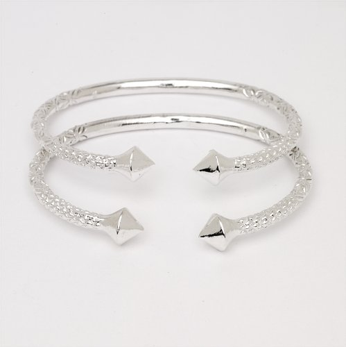 Thick Pyramid Ends .925 Sterling Silver West Indian Bangles (Pair 83.6 g / Size 9 (MADE IN USA)) by Better Jewelry