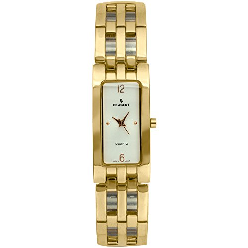 Peugeot Womens Goldtone Easy Flex Expansion Watch with a Rectangular Champagne Dial