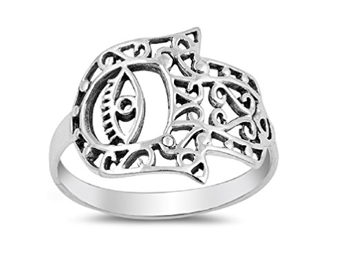 (Princess Kylie Sterling Silver Sideway Hand of God with Evil Eye Ring Size 9)