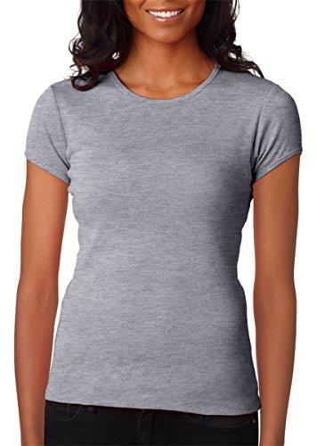 Bella + Canvas Ladies Stretch Rib Short-Sleeve T-Shirt, Large, ATHLETIC HEATHER