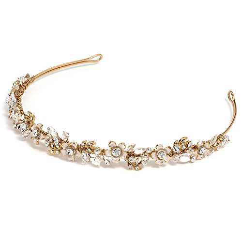 USABride Gold-Tone Floral Design Bridal Headband with Rhinestones & Crystals 3137-G