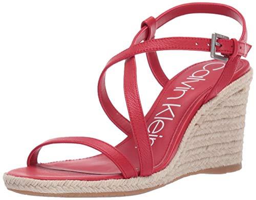 Calvin Klein Women's BELLEMINE Wedge Sandal, Scarlet, 11 M US