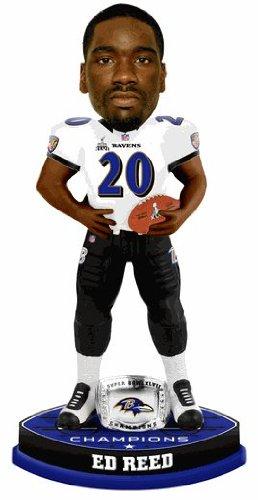 Baltimore Ravens Ed Reed Forever Collectibles Super Bowl 47 Champ Ring Bobblehead (Ring Baltimore Bowl Ravens Super)