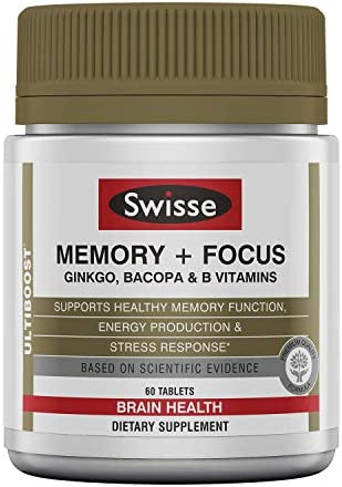 Swisse Ultiboost Memory Focus Supplement Ginkgo Biloba, Bacopa B Vitamins to Support Brain Health, Mental Alertness, Concentration and Focus 60 Tablets